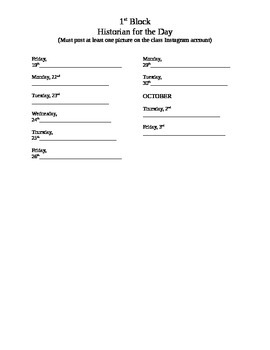 Class Historian Sign-up Sheet