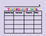 Class & Individual Student Technology Login Cards (Distance & In Class Learning)