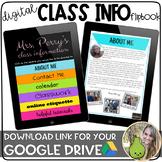 Digital Class Info Flipbook | Distance Learning | Google Slides