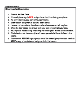 Class Info for Interactive Notebooks