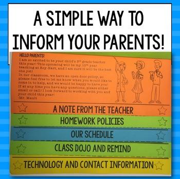 Class Information Editable FlipBook for Parents for Grades 2-6