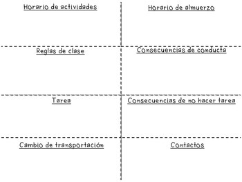 Class Information Foldable in English & Spanish