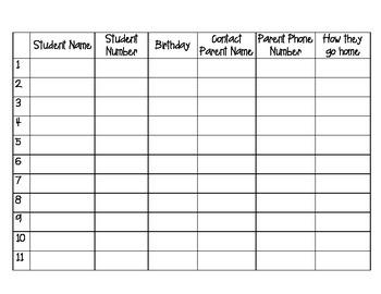Class Information Sheet