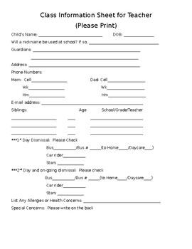 Class Information Sheet for Teacher