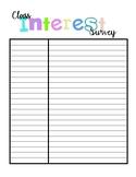 Class Interest Survey - Back to School!
