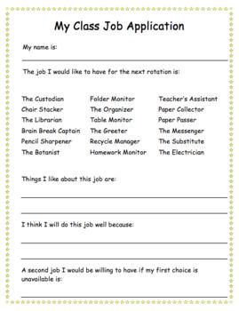 Class Job Application: EDITABLE