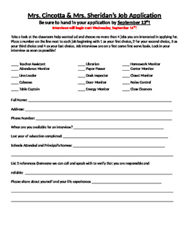 Class Job Application with Help Wanted Ad - Editable!