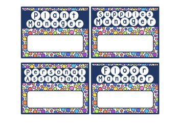 Class Job Cards ~ Bright Colors & Dots