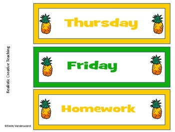 Class Job Cards/ Days of the Week Pineapple Theme