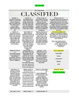 Class Job Classifieds in a Newspaper Setting