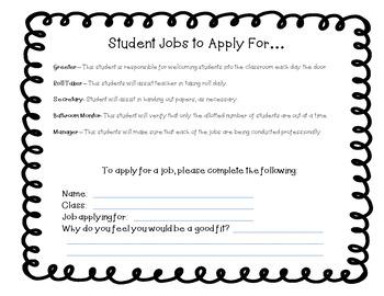 Class Job Description and Job Application
