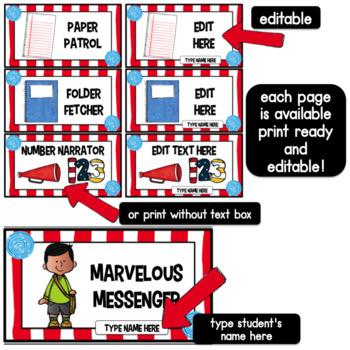 Class Jobs Whimsical Theme- Editable