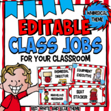Classroom Jobs Editable | Class Jobs with Pictures | Red, White & Blue Decor