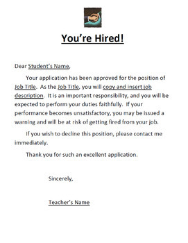 Class Job List Application And Hiring Letter Template