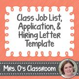 Class Job List, Application, and Hiring Letter Template