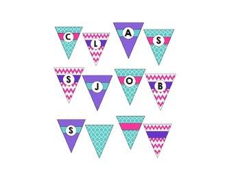 Class Job Pennant Banner Chart - Teal, Pink, & Purple