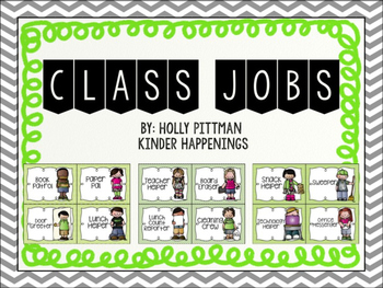 Editable Class Job Posters/Signs- Green