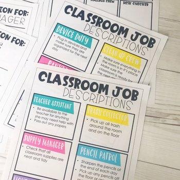 Classroom Jobs   Editable