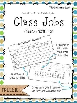 Class Jobs Assignment List