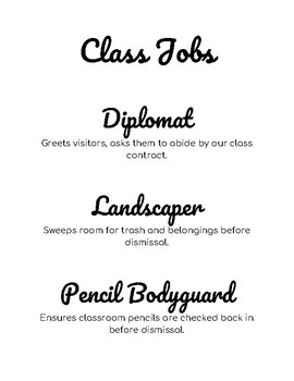 Class Jobs Bulletin Board Cut Outs