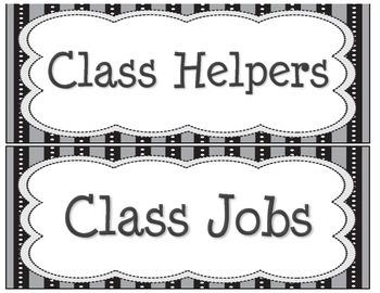 Class Jobs / Class Helpers Cards