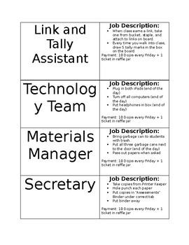 Class Jobs- EDITABLE!