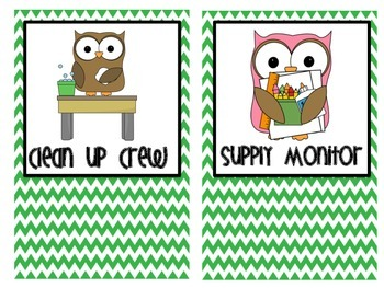 Class Jobs Owl Themed Green and Pink Chevron