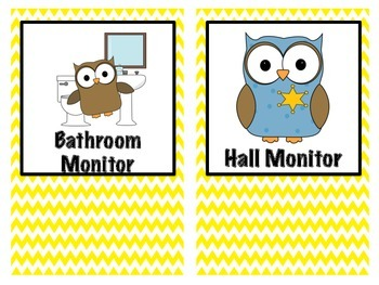 Class Jobs Owl Themed Purple and Yellow Chevron