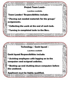Class Jobs - Editable - Real life application STEM - PBL