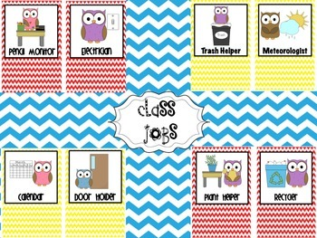 Class Jobs Owl Themed Red and Yellow Chevron
