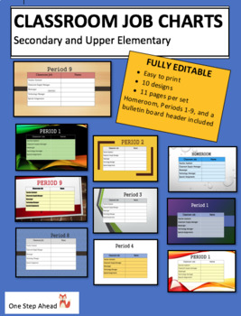 Class Job Charts - Secondary/Upper Elementary (Editable!)