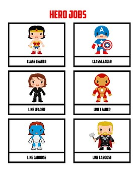Class Jobs Super Hero Theme for Boy & Girl 24 different Jobs Marvel DC Guardians