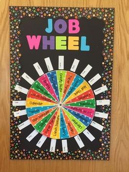 Class Jobs Wheel - Boho Birds Color Scheme - Variation #2 - 21 Students