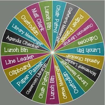Class Jobs Wheel - Chalkboard Brights - 23 Students
