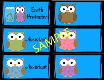 Class Jobs  Who's Job Is It ?  Owl Theme
