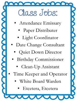 Class Jobs for Middle and High School