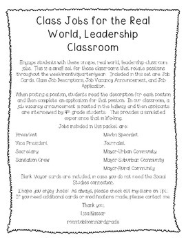 Class Jobs for the real-world, leadership classroom
