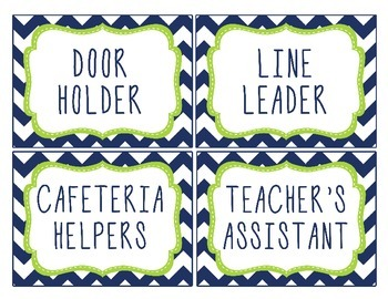 Class Jobs with Header | Navy + Lime Green