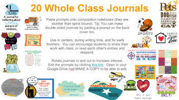20 Class Journal Prompts DIGITAL and Print Versions