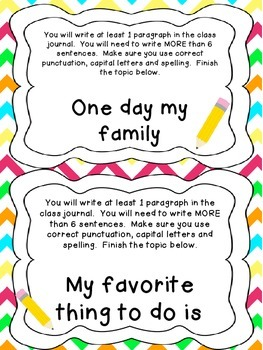 Class Journal Writing Prompts