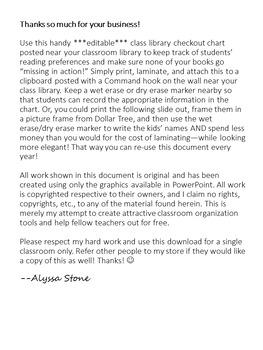 Class Library Checkout Sheet - Burlap