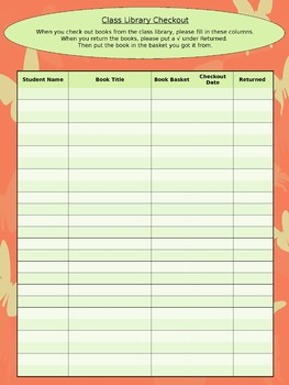 Class Library Checkout Sheet - Coral Butterfly Theme