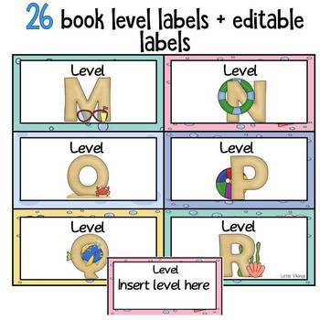 Class Library Labels Ocean Theme EDITABLE