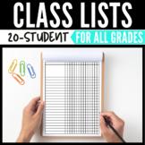 Class List & Grade Sheet for 20-Students