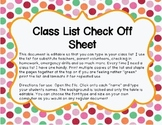 Class List Check Off Sheet an Editable File