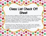 Class List Check Off Sheet an Editable File