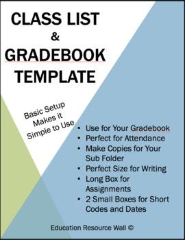 Class List & Grade Book Template