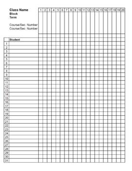 Class List U0026 Grade Book Template