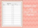 Class List Log Observation Form