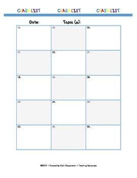 Class List Marking Sheet / Observation Sheet